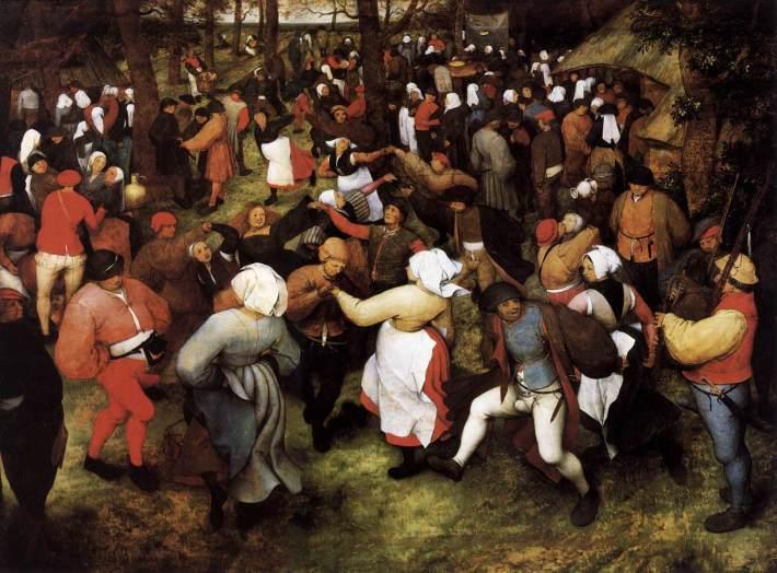 Detalhe da obra A dança da noiva ao ar livre, de Pieter Brueghel (1566). A gaita de foles, por ser considerada um instrumento de poderes eróticos, é tocada na festa. A vitalidade e a fecundidade, o desvario, a sensualidade mal reprimida, a alegria incontida e o prazer do amor desregrado são celebradas no ardor da dança.  Brueghel destaca a excitação dos homens.  Os festivais medievais como o de São Valentim eram, como este, espaços de quebra das regras morais.