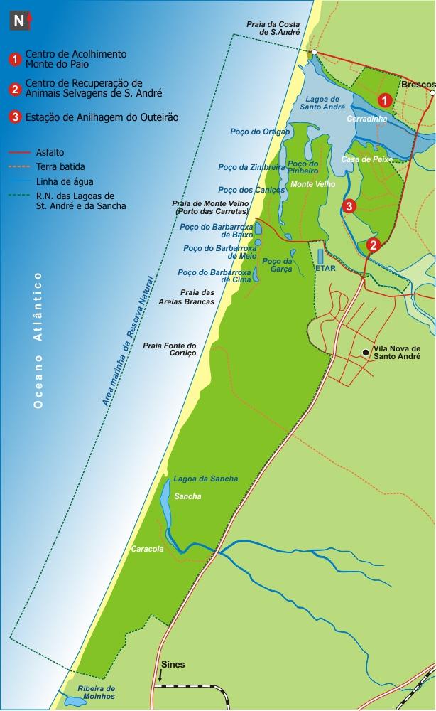 lagoa de santo andré mapa LAGOA DE SANTO ANDRÉ – NA COSTA DO ALENTEJO – O HOMEM E A NATUREZA  lagoa de santo andré mapa