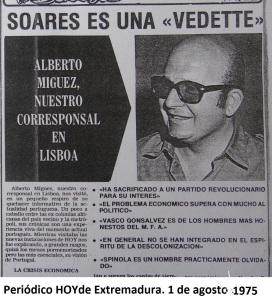 Sobre Mario Soares en el HOY. Agosto 1975.