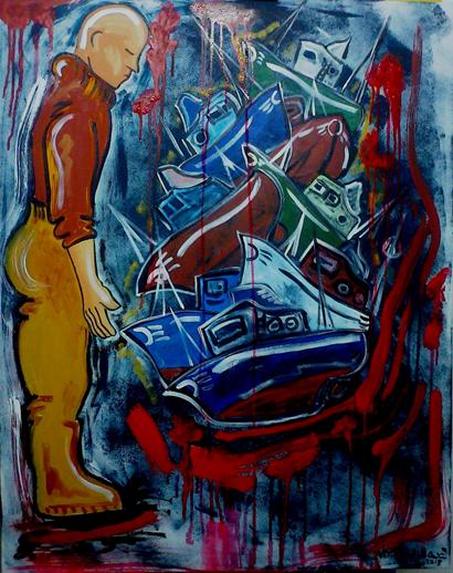 Desguace, Viki Rivadulla (2013) - Acrílico sobre lenço