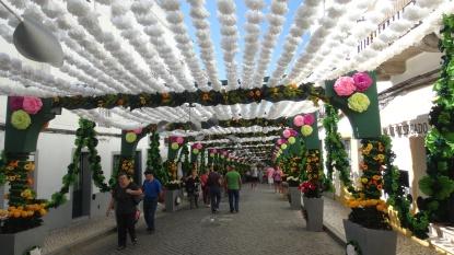 Calle con su entoldado florido