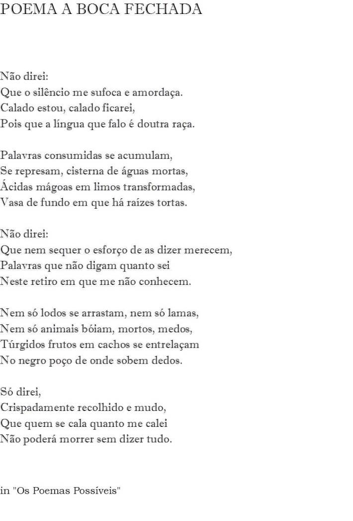 Poema A Boca Fechada
