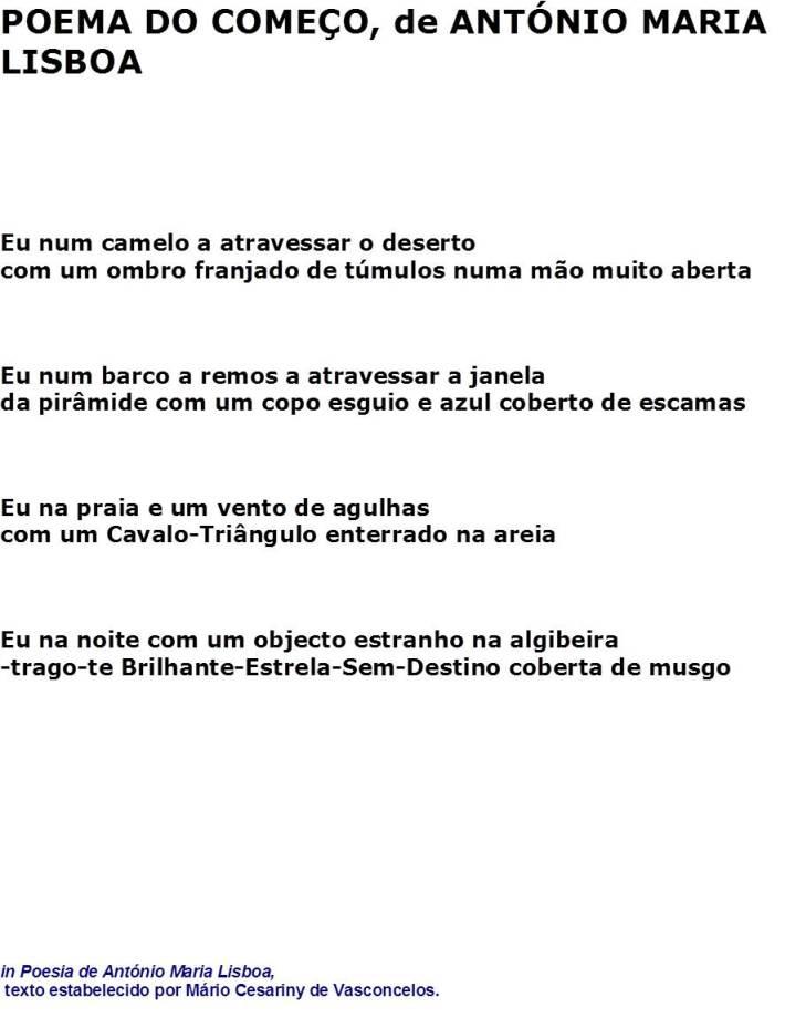 Poema do Começo, de António Maria Lisboa