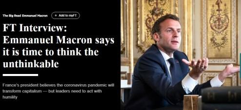 Emmanuel Macron diz que é tempo de pensar o impensável. Entrevista ao Financial Times